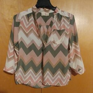 Wishful park sheer chevron blouse
